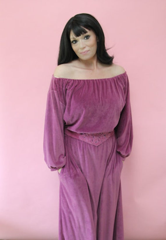 1970's Miss Elaine Velour Loungewear - Stretchy an