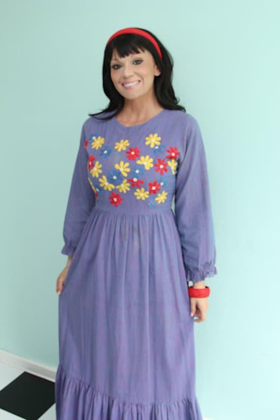1960's Ramona's Boho Hippie Maxi Dress with Embro… - image 2