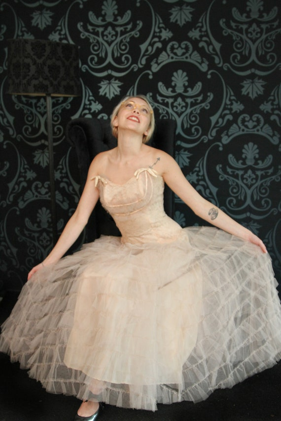 1940's Lace and Netted Cinderella Dress, Fairy Dre