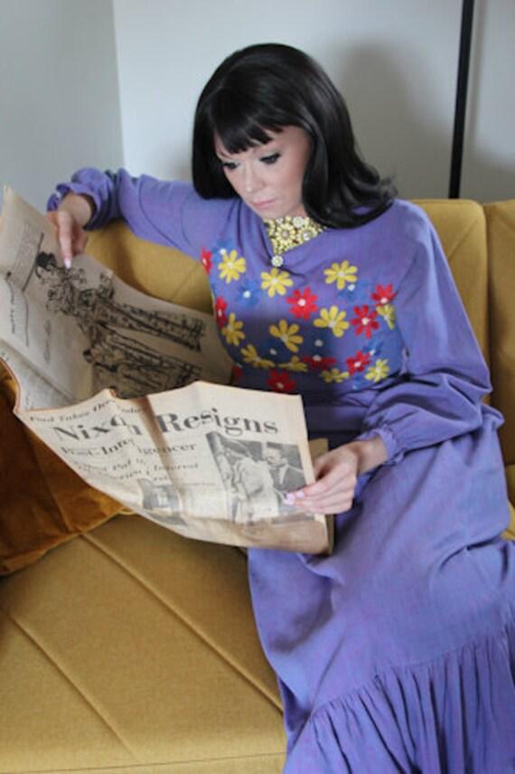 1960's Ramona's Boho Hippie Maxi Dress with Embro… - image 7