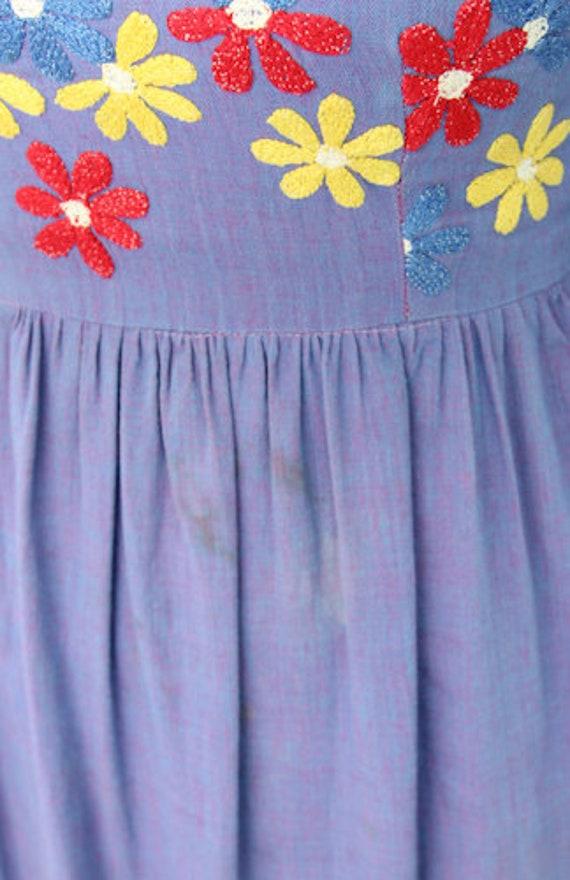 1960's Ramona's Boho Hippie Maxi Dress with Embro… - image 9