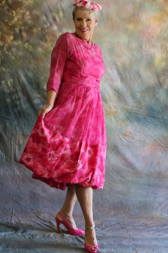 1950s Fancy Cocktail Dress in Pink Chiffon by Bull