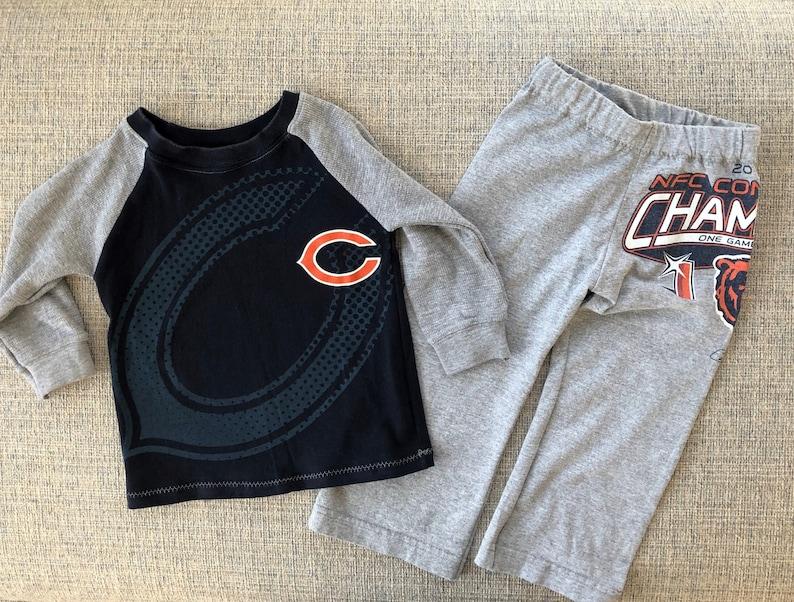 0028678c Chicago Bears kids Football pajamas Upcycle clothing jersey knit fabric  Vintage T-shirt Pajama Set pants clothing gift