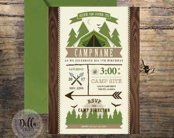 Camping invitations etsy camping invitation camping invite camping party campfire sleep over invitation camp out boy scouts smores camping party birthday filmwisefo