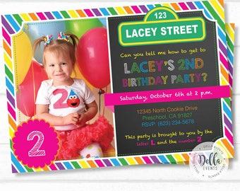 Elmo Invitation, Elmo Invite, Elmo Birthday, Sesame Street Invitation, Sesame Street Invite, Elmo Birthday Party, Sesame Street Party (E1)