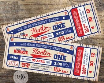 Baseball Invitation Birthday Invite Ticket Party Little Rookie