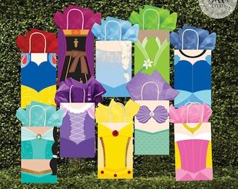 Disney Princess Favor Bag, Princess Bag Fronts, Princess Birthday, Princess, Disney Party, Disney Princess Favor Bag, Gift Bag, Favor Tags