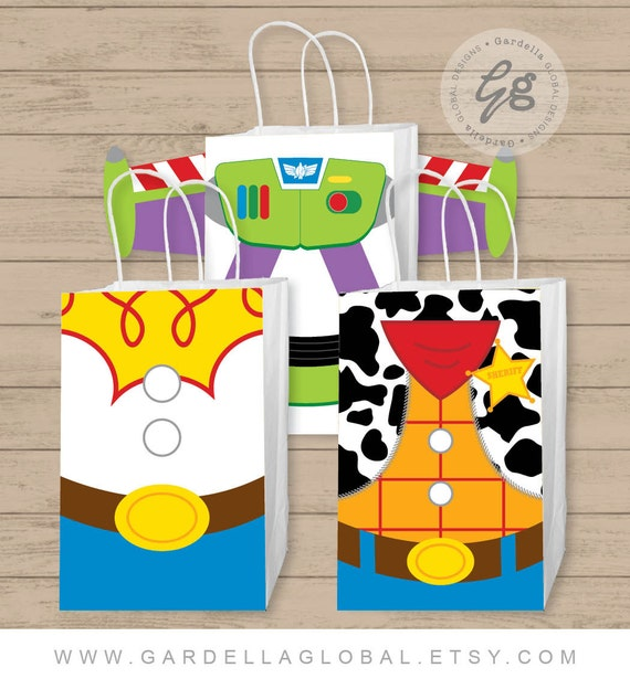 Toy Story Gift Bag Fronts Birthday Party
