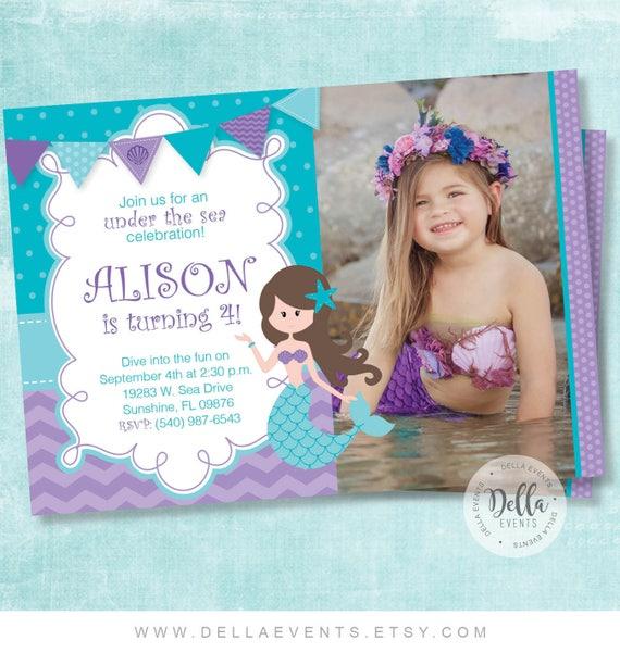 Mermaid Invitation Invite The Little
