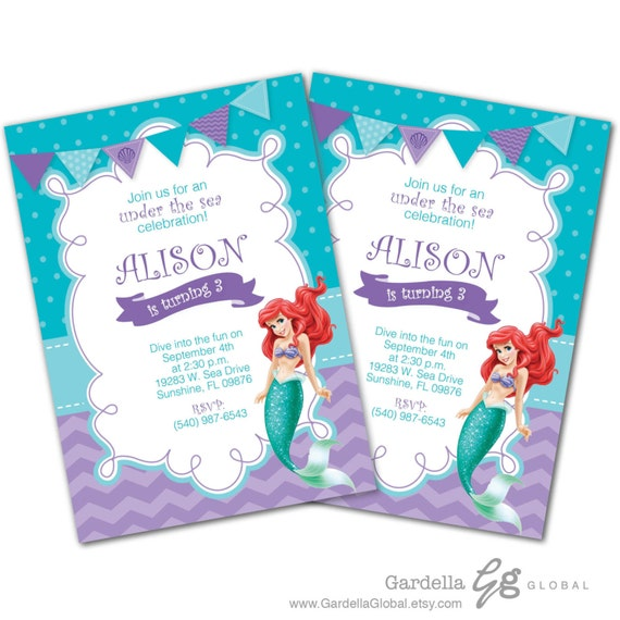 Little Mermaid Invitation Invite Ariel
