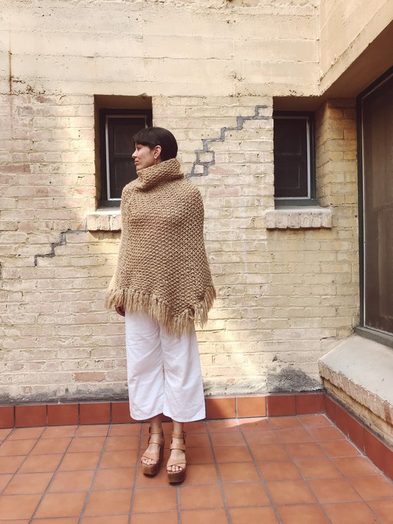 100% Wool Knitted Pull Over Poncho