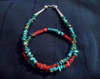 Navajo Beaded Kingman turquoise and coral Bead Necklace Native American Southwestern.