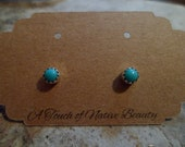 Navajo sterling silver Sleeping Beauty turquoise stud earrings Southwestern. 4mm stones Great for babies also made to order.