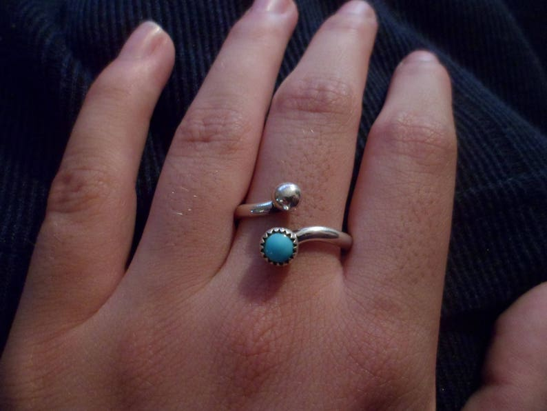 Made to order. Navajo sterling silver turquoise and silver bead adjustable midi ring Native American Southwestern