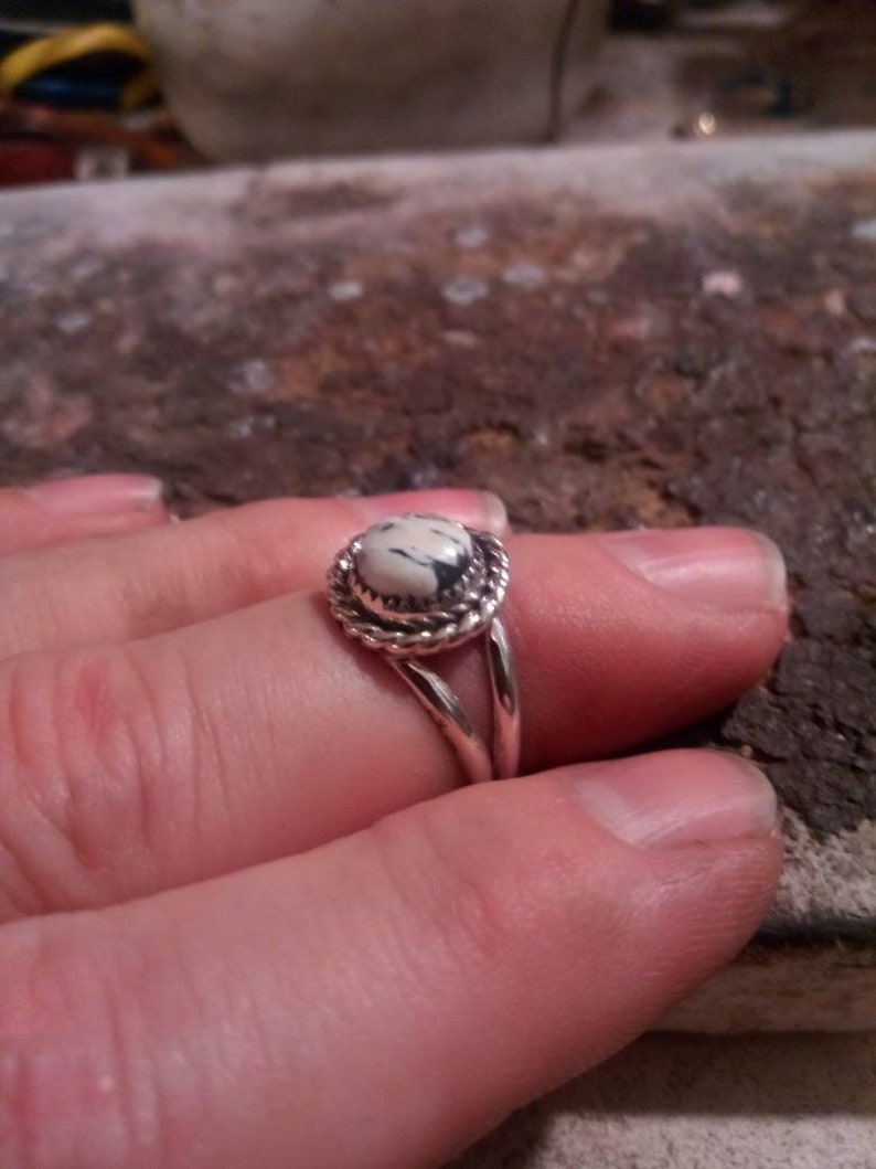 Navajo Native American Southwestern sterling silver white buffalo turquoise cable braid double band ring Size 8 12