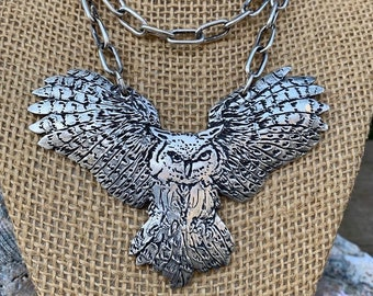 Soaring Owl Metal Clay Pendant Necklace 2 Layers Sterling Chain