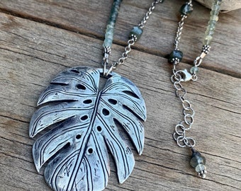 Monstera Leaf Silver Clay Pendant Necklace Green Moss Agate