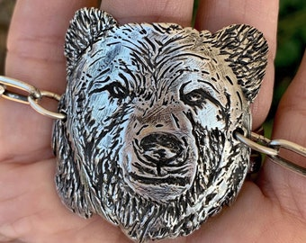 Mama Bear Fine Silver Clay Handmade Bracelet
