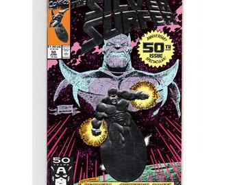 June 1991, Marvel Comics Silver Surfer #50 Thanos Foil Cover Unread Copy