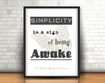 """Printable Poster """"Simplicity is..."""" - 50x70 cm - Digital Poster, Quotes, Quote, Wall decor, Artwork, Positive Outlook, Positive Thoughts"""