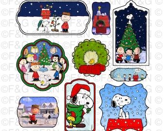 CHRISTMAS PEANUTS Digital TAGS/Labels, Digital Graphics, Christmas, Xmas, Winter, Peanuts, Snoopy, Craft, Scrapbooking, Cards - Pack 1