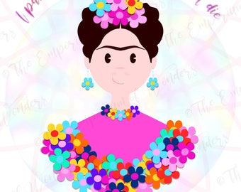 """Printable Poster """"FRIDA and the FLOWERS"""" 50x70 cm, Digital Poster, Quotes, Wall decor, Artwork, Frida Kahlo, Motivational Poster, Flowers"""