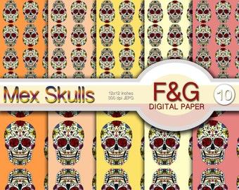 MEX SKULLS - n.5 - Digital Paper, Craft, Scrapbook Papers, Scrapbooking, Cartonnage, Sugar Skull, Mexico, Skull Art, Day of the Dead