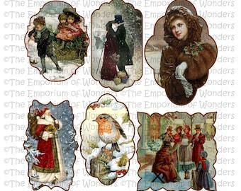 VINTAGE CHRISTMAS Digital TAGS/Labels, Digital Graphics, Christmas, Xmas, Winter, Victorian, Vintage, Santa, Old, Craft, Scrapbooking, Cards