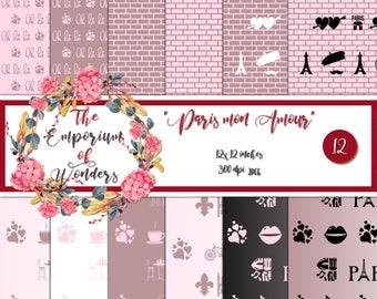 Paris mon Amour - Digital Paper, Craft, Scrapbook Papers, Scrapbooking, Cartonnage, Background, Supplies, Valentine, Romantic, Love, Paris