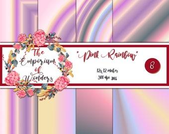 Pink Rainbow - Digital Paper, Craft, Scrapbook Papers, Scrapbooking, Cartonnage, Background, Supplies, Pink, Baby Pink