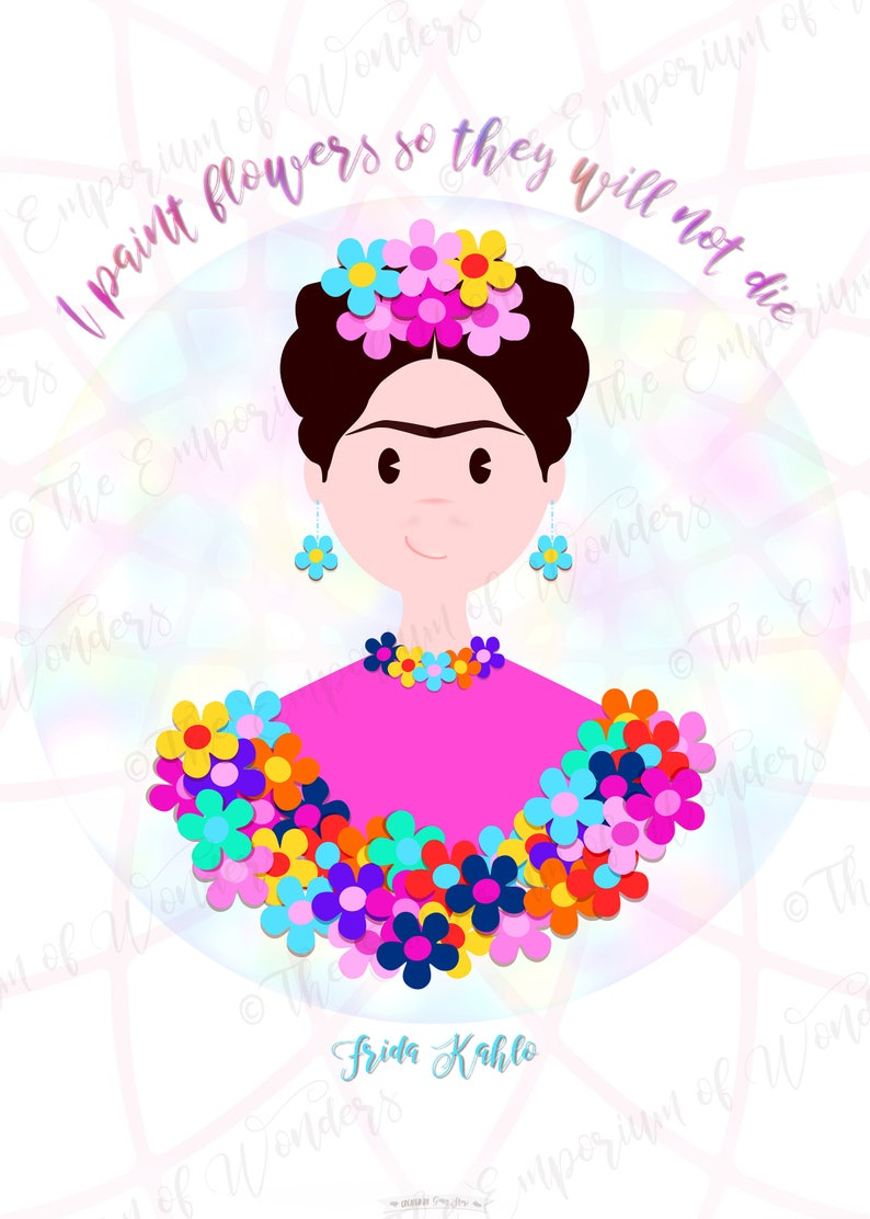 Printable Poster FRIDA and the FLOWERS 50x70 cm image 0