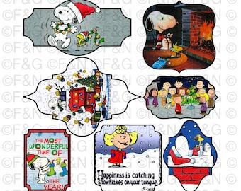 CHRISTMAS PEANUTS Digital TAGS/Labels, Digital Graphics, Christmas, Xmas, Winter, Peanuts, Snoopy, Craft, Scrapbooking, Cards - Pack 3