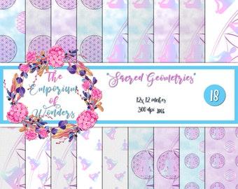SACRED GEOMETRY - Digital Paper, Craft, Scrapbook Paper, Scrapbooking, Cartonnage, Background, Supplies, Flower of Life, Yoga, Silhouette