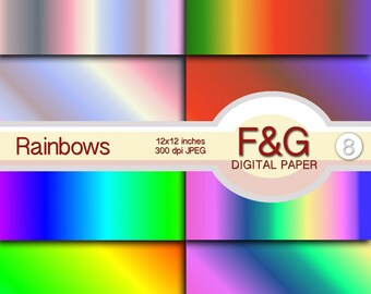 RAINBOWS Digital Papers, Craft, Papercraft, Scrapbook Papers, Scrapbooking, Cartonnage, Background, Supplies, Rainbow, Colors