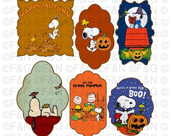 FALL PEANUTS Digital TAGS - labels, Digital Graphics, Autumn, Fall, Pumpkins, Halloween, Peanuts, Snoopy, Craft, Scrapbooking, Cartonnage