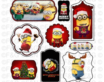 CHRISTMAS MINIONS Digital TAGS/Labels, Digital Graphics, Christmas, Xmas, Winter, Minions, Craft, Scrapbooking, Cards - Pack 1