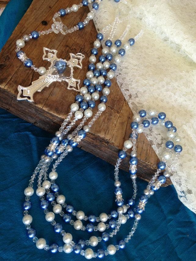 """Wedding lasso """"wedding by the Sea""""/ lasso de boda """"boda junto al mar""""/ blue pearls wedding lasso/ Swarovski and Preciosa Pearls"""
