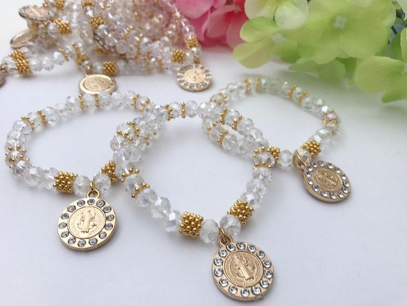 2857b30e6c73 24 Recuerdos para Bautizo pulsera de perlas en crystal