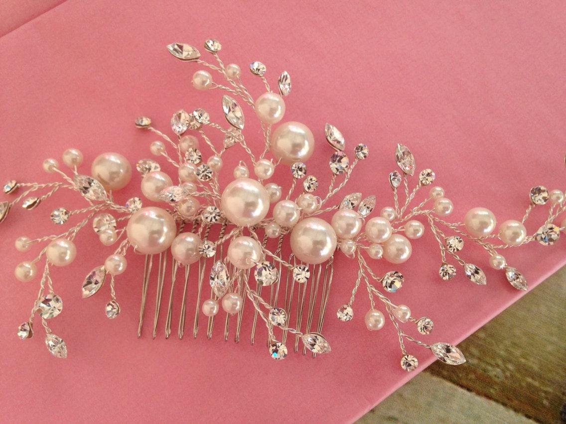 Tocado Para Novia en Perlas De crystal Swarovski Peineta para