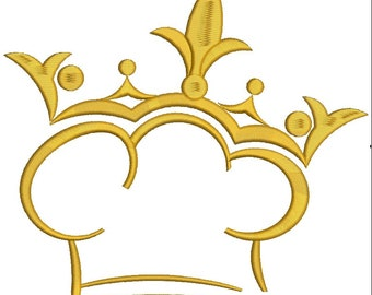 king of chefs embroidery design , instantly download / 4 sizes