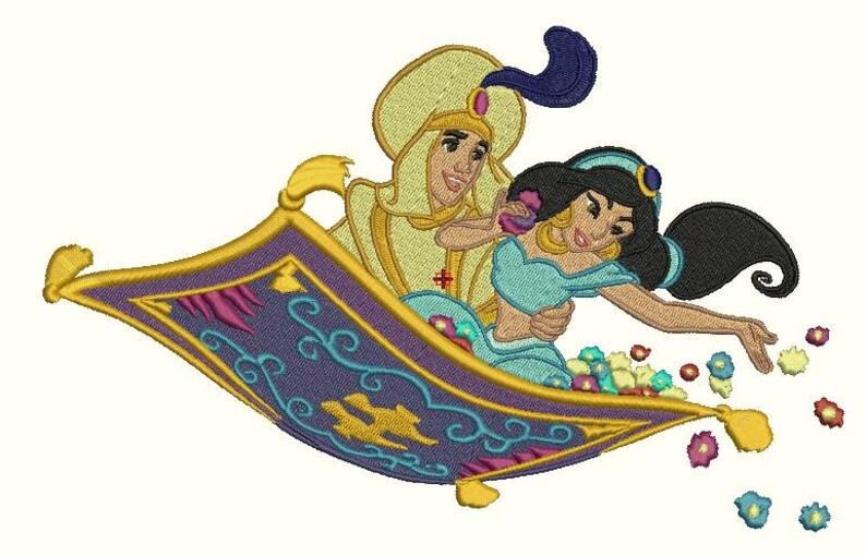 Aladin Et Jasmine Sur Un Tapis Motifs De Broderie Machine Etsy