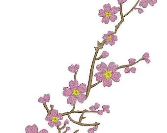 sakura branch - Machine Embroidery designs - 230*175mm / 9.2*7inc / 7500 stc. design tested