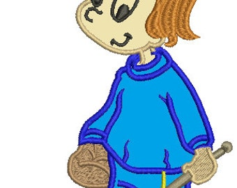 Girl Playing Ice Hockey  - applique, Machine Embroidery Design