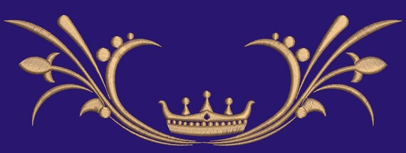 crown and an openwork pattern Machine embroidery design