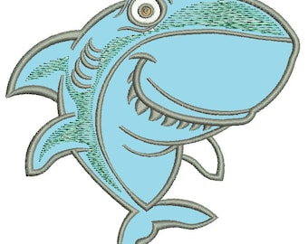shark applique Machine Embroidery Designs  instantly download