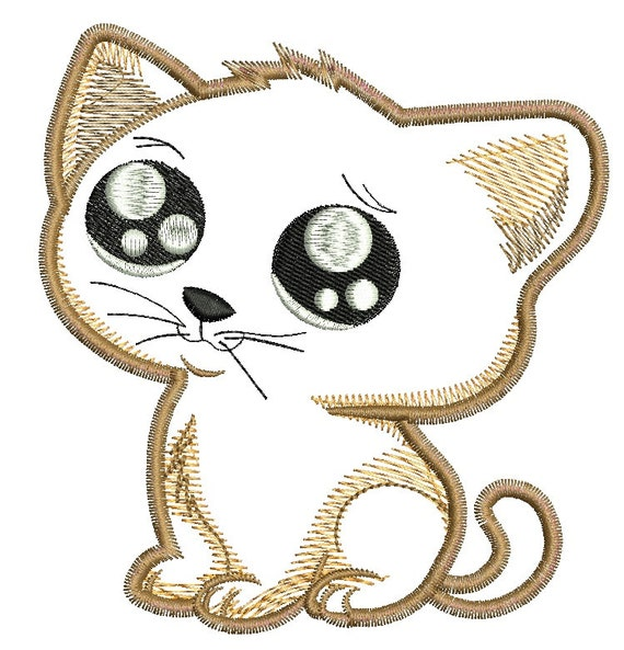 Cute Cat Applique Machine Embroidery Design Etsy