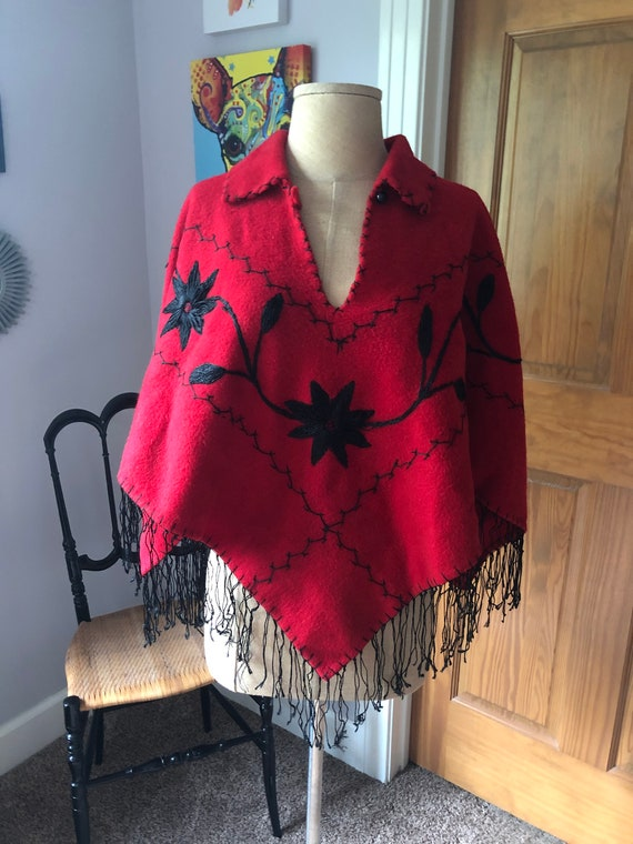 Vintage Mexican Red and Black Wool Embroidered Sha