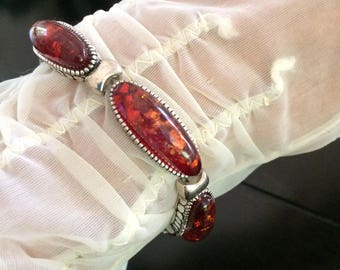 Amber Glitter Lucite and Silver Vintage Stretch Bracelet