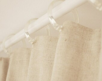 108W X 90H Organic Hemp Linen Shower Curtain Extra Long