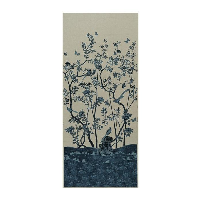 130 «L Chinoiserie Sagano oiseau oiseau oiseau Motif Batik cire dessiné tissu de lin 4637ac